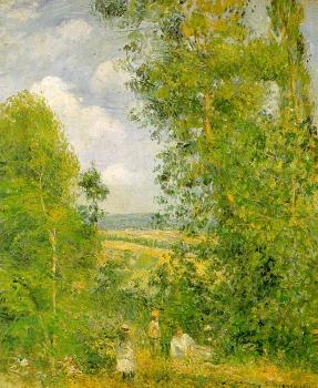 Camille Pissarro : Resting in the Woods at Pontoise