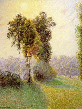 Camille Pissarro : Sunset at St. Charles, Eragny