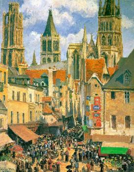 Camille Pissarro : The Old Market at Rouen