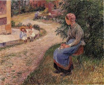 Camille Pissarro : A Servant Seated in the Garden at Eragny