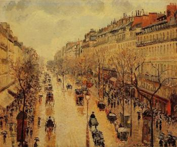 Camille Pissarro : Boulevard Montmartre, Afternoon, in the Rain