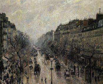 Camille Pissarro : Boulevard Montmartre, Foggy Morning