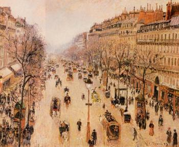 Camille Pissarro : Boulevard Montmartre, Morning, Grey Weather