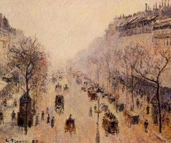 Camille Pissarro : Boulevard Montmartre, Morning, Sunlight and Mist