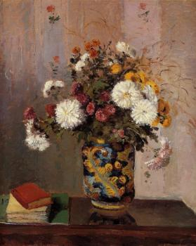 Camille Pissarro : Bouquet of Flowers, Chrysanthemums in a China Vase