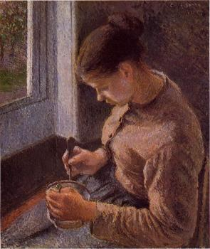 Camille Pissarro : Breakfast, Young Peasant Woman Taking Her Coffee