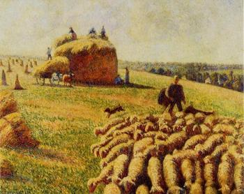 Camille Pissarro : Flock of Sheep in a Field after the Harvest
