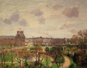 Camille Pissarro : Garden of the Louvre, Morning, Grey Weather