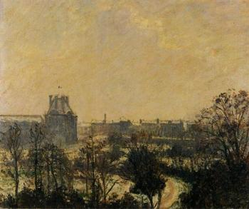 Camille Pissarro : Garden of the Louvre, Snow Effect