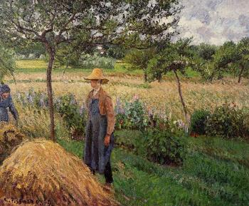 Camille Pissarro : Grey Weather, Morning with Figures, Eragny