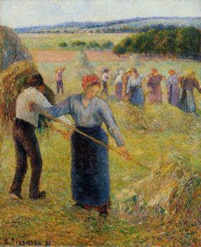 Camille Pissarro : Haymaking at Eragny