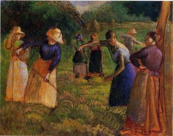 Camille Pissarro : Haymaking at Eragny II