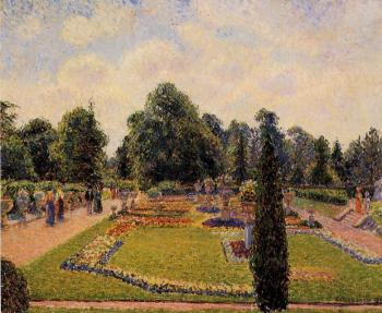 Camille Pissarro : Kew Gardens, Path between the Pond and the Palm House