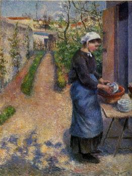 Camille Pissarro : Young Woman Washing Plates