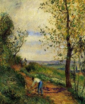 Camille Pissarro : Landscape with a Man Digging