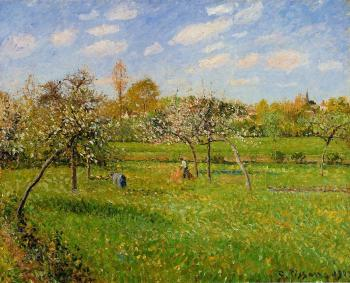 Camille Pissarro : Morning, Spring, Grey Weather, Eragny