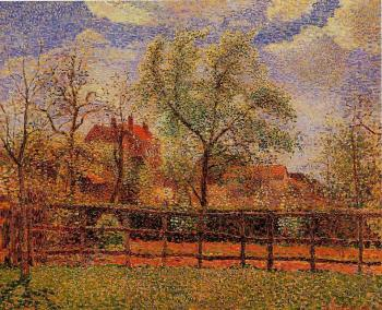 Camille Pissarro : Pear Trees in Bloom, Eragny, Morning