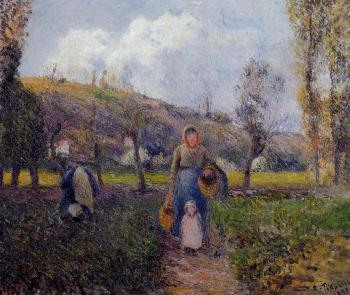 Camille Pissarro : Peasant Woman and Child Harvesting the Fields, Pontoise