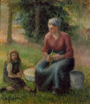 Camille Pissarro : Peasant Woman and Her Daughter, Eragny