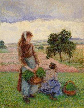 Camille Pissarro : Peasant Woman Carrying a Basket