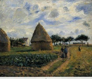 Camille Pissarro : Peasants and Hay Stacks