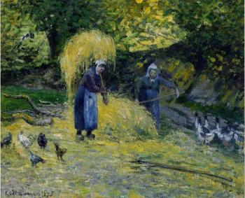 Camille Pissarro : Peasants Carrying Straw, Montfoucault