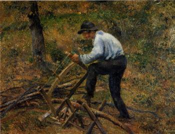 Camille Pissarro : Pere Melon Sawing Wood