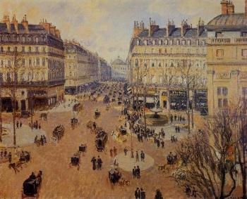 Camille Pissarro : Place du Theatre Francais, Afternoon Sun in Winter
