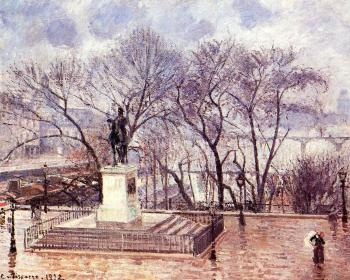 Camille Pissarro : Pont-Neuf, the Statue of Henri IV, Afternoon, Rain