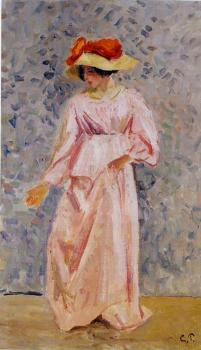 Camille Pissarro : Portrait of Jeanne in a Pink Robe