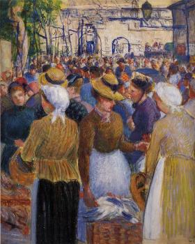 Camille Pissarro : Poultry Market at Gisors