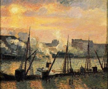 Camille Pissarro : Quay in Rouen, Sunset