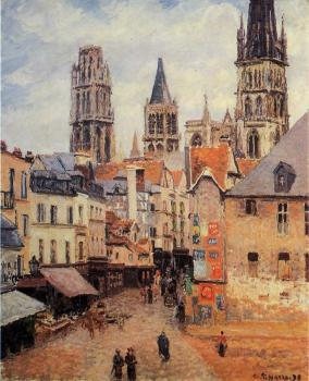 Camille Pissarro : Rue de l'Eppicerie, Rouen, Morning, Grey Weather