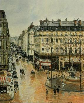 Camille Pissarro : Rue Saint-Honore, Afternoon, Rain Effect