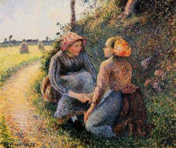 Camille Pissarro : Seated and Kneeling Peasants