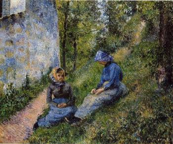 Camille Pissarro : Seated Peasants, Sewing