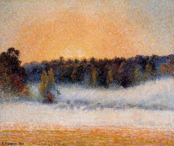 Camille Pissarro : Setting Sun and Fog, Eragny
