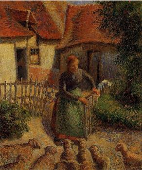 Camille Pissarro : Shepherdess Bringing in the Sheep