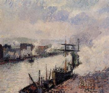 Camille Pissarro : Steamboats in the Port of Rouen