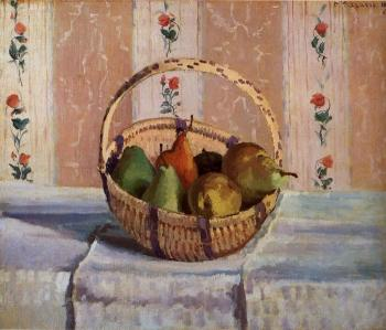 Camille Pissarro : Still Life, Apples and Pears in a Round Basket