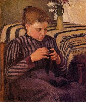 Camille Pissarro : Young Girl Mending Her Stockings