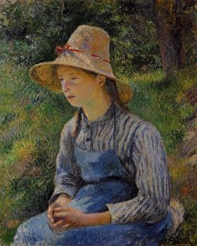 Camille Pissarro : Young Peasant Girl Wearing a Hat