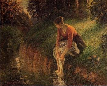 Camille Pissarro : Young Woman Bathing Her Feet
