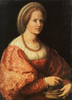 Jacopo Da Pontormo : Lady with a Basket of Spindles, approx
