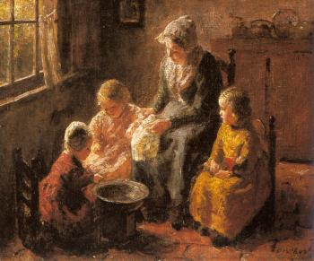 Bernard Pothast : Mother and Children in an Interior