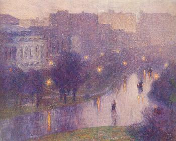 Edward Henry Potthast : Night Scene, New York City