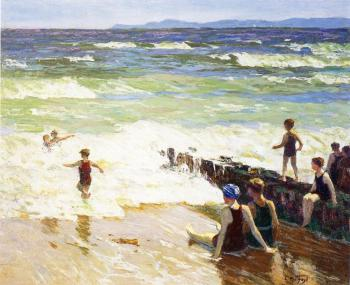 Edward Henry Potthast : Bathers by the Shore