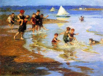 Edward Henry Potthast : Children at Play on the Beach