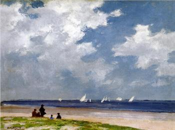 Edward Henry Potthast : Sailboats off Far Rockaway