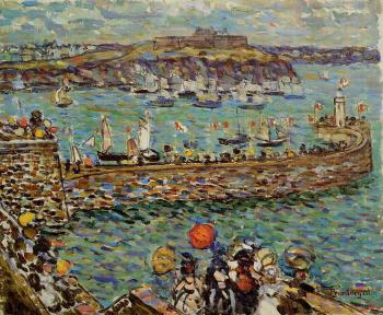 Maurice Brazil Prendergast : Lighthouse at St Malo